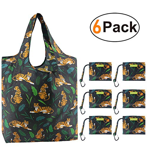 Tiger Reusable-Grocery-Bags-Foldable-Bag Shopping Totes Bag Grocery Bag Large 50LBS Cute Reusable Bags Groceries with Square Pouch Bulk 6 Pack Ripstop Fabric Machine Washable Durable Lightweight