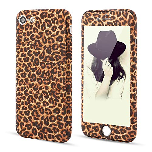 for iPhone 7 Plus iPhone 8 Plus Case,L-FADNUT 3in1 Stylish Leopard Cheetah Print Precise-Fit Premium PC Case and Tempered Glass Screen Protector Scratch Resistant Dual Layer Protective Case Brown