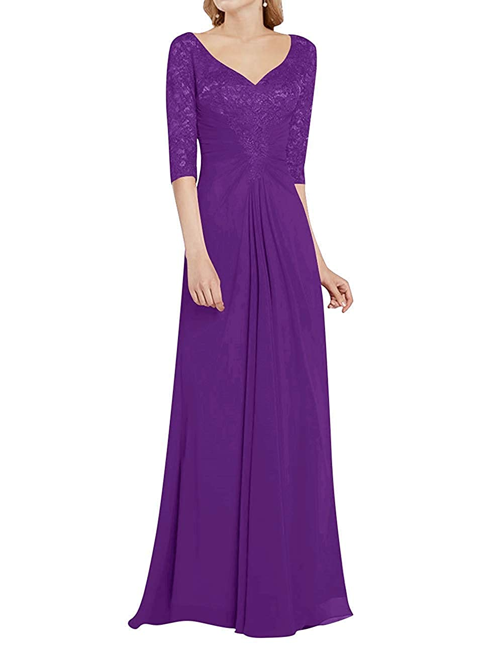 Purple Mother of The Bride Dress with Half Long Sleeves Formal Evening Gownes Mother Dresses