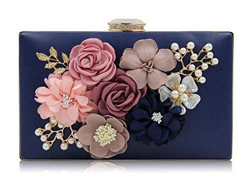 EPLAZA Womens Satin Flower Evening Clutch Bag Pearl Beaded Wedding Bridal Purse Prom Party Handbag (deep blue)