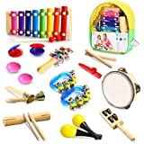 Geekper 18 PCS Kids Musical Instruments, Wooden Percussion Instruments Toy for Baby Kid Child Boys Girls, Tambourine Set Toddler Musical Toys Storage Backpack Included