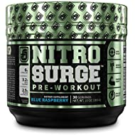 NITROSURGE Pre Workout Supplement - Endless Energy, Instant Strength Gains, Clear Focus, Intense Pumps - Nitric Oxide Booster & Powerful Preworkout Energy Powder - 30 Servings, Blue Raspberry