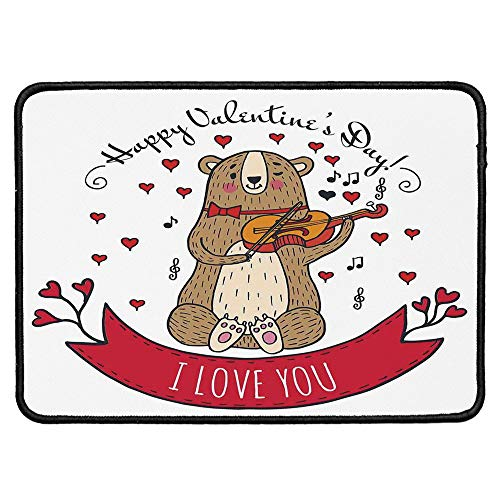 (Valentines Day Natural Rubber Pad,Teddy Bear with Violin Made with Love Romantic Music Notes Heart I Love You for Office &Hone Computers,9.84''Wx11.81''Lx0.12''H)