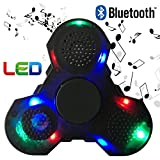SADES Prime Fidget Spinner with LED lights and Bluetooth Speaker best cool light up double sided toy with all black case and charger