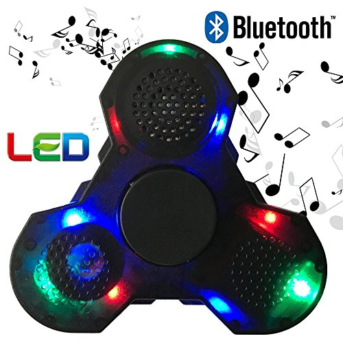 HAIL-SADES Prime Fidget Spinner with LED lights and Bluetooth Speaker best cool light up double sided toy with all black case and charger Led Spinner