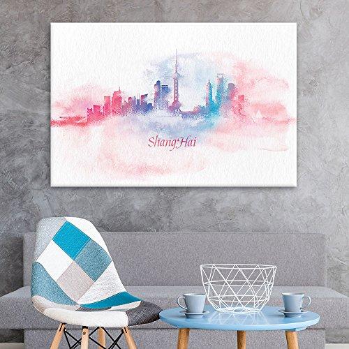 - wall26 Canvas Wall Art - Impressionism Watercolor Style City Landscape of Shanghai - Giclee Print Gallery Wrap Modern Home Decor Ready to Hang - 16x24 inches