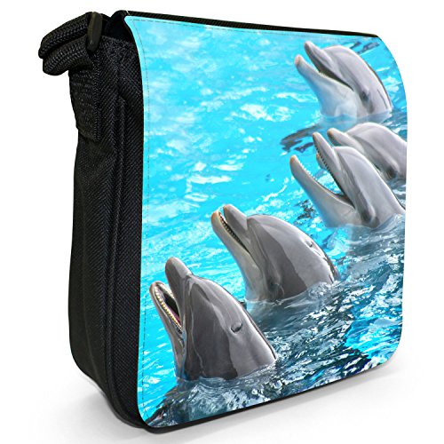 Bag Dolphins Size Of Group Black Small Canvas Shoulder q7CrxIU7w