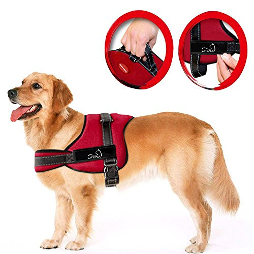 Lifepul(TM) No Pull Dog Vest Harness - Dog Body Padded Vest - Comfort Control for Large Dogs in Training Walking - No More Pulling, Tugging or Choking Red