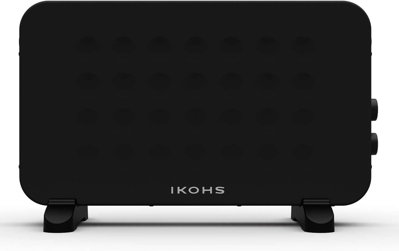IKOHS HEATBOX - Convector Calefactor Aire, Calefactor Eléctrico, 4 Modos, 2000W, Termostato Inteligente, Portátil de Bajo Consumo, Protección contra Volcado y Sobrecalentamiento (Negro)
