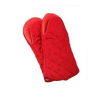 TT Inicio cocina microondas horno rojo espesado guantes resistentes al calor y de alta temperatura antideslizante
