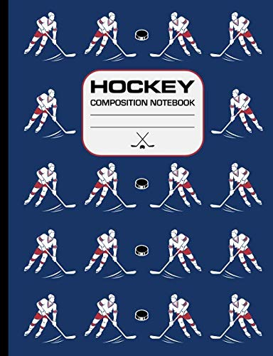 Hockey Composition Notebook: 120 page writing notebook, wide ruled. Glossy softcover, perfect bound. Hockey pattern on the cover. (Power Play Hockey Jersey)