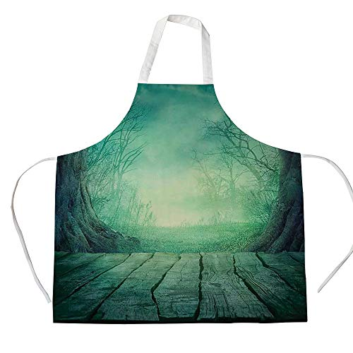 Gothic 3D Printed Cotton Linen Apron,Spooky Scary Dark Fog Forest with Dead Trees and Wooden Table Halloween Horror Theme Print,for Cooking Baking Gardening,Blue]()