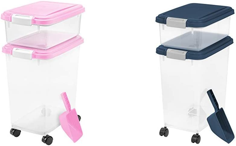 IRIS USA, Inc. 3Piece Airtight Pet Food Storage Container Combo, Pink 3 Piece Airtight Pet Food Storage Container Combo, Navy Blue