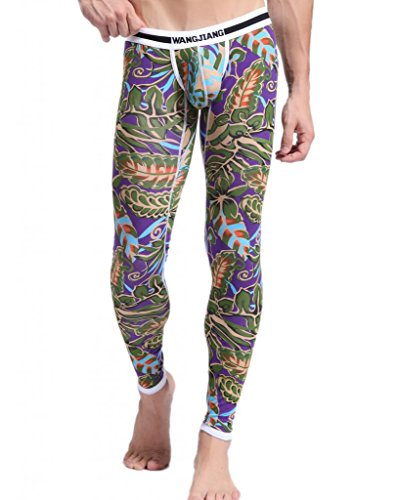 Showtime Men's Low Rise Leggings Thermal Pants Printed Compression Tight Pants