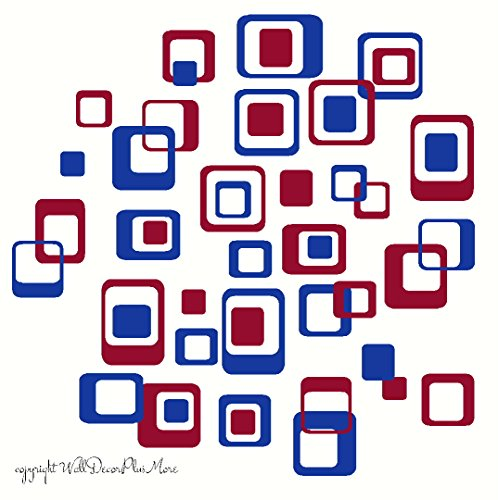 Wall Decor Plus More WDPM1043 Funky R/ Squares Wall Sticker Vinyl Decal 40-Piece 2 color Retro Mod Shapes Fun Easy Peel-N-Stick Application, Traffic Blue and Red