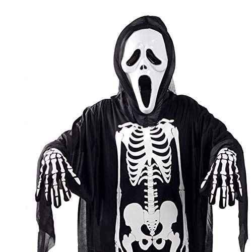NiceWave Black Skeleton Skull Costumes and Scary Screaming mask Ghost Cosplay Dresses Combed Ghost Masquerade Dress Disguise with face mask and Gloves Ghost Costume Halloween (Adult) -
