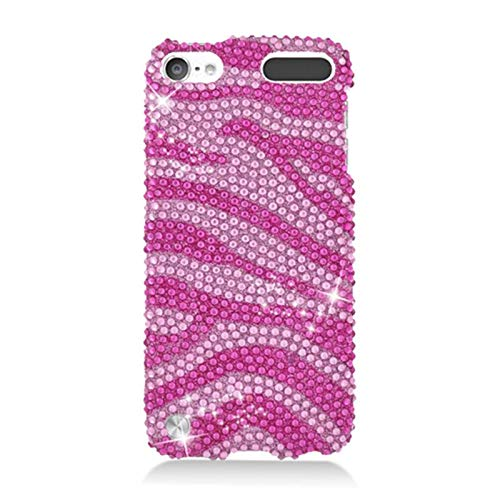 Insten Zebra Rhinestone Diamond Bling Hard Snap-in Case Cover Compatible with Apple iPod Touch 5th Gen, Hot Pink/Pink