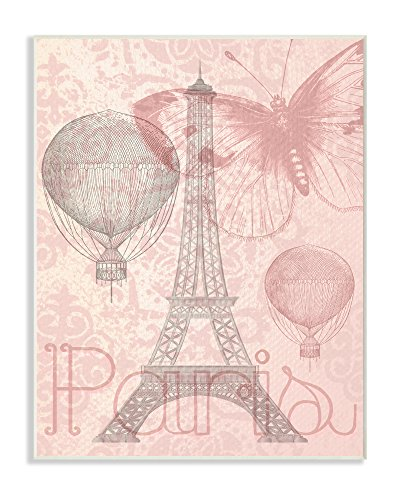 Eiffel Tower Hot Air Balloon Paris Wall Plaque Art