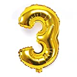 "B-G 40"" Number 0-9 Thickening Gold Foil Digital Foil Mylar Balloons for Independence Day Birthday Party Wedding Anniversary (Number 3) BA03"