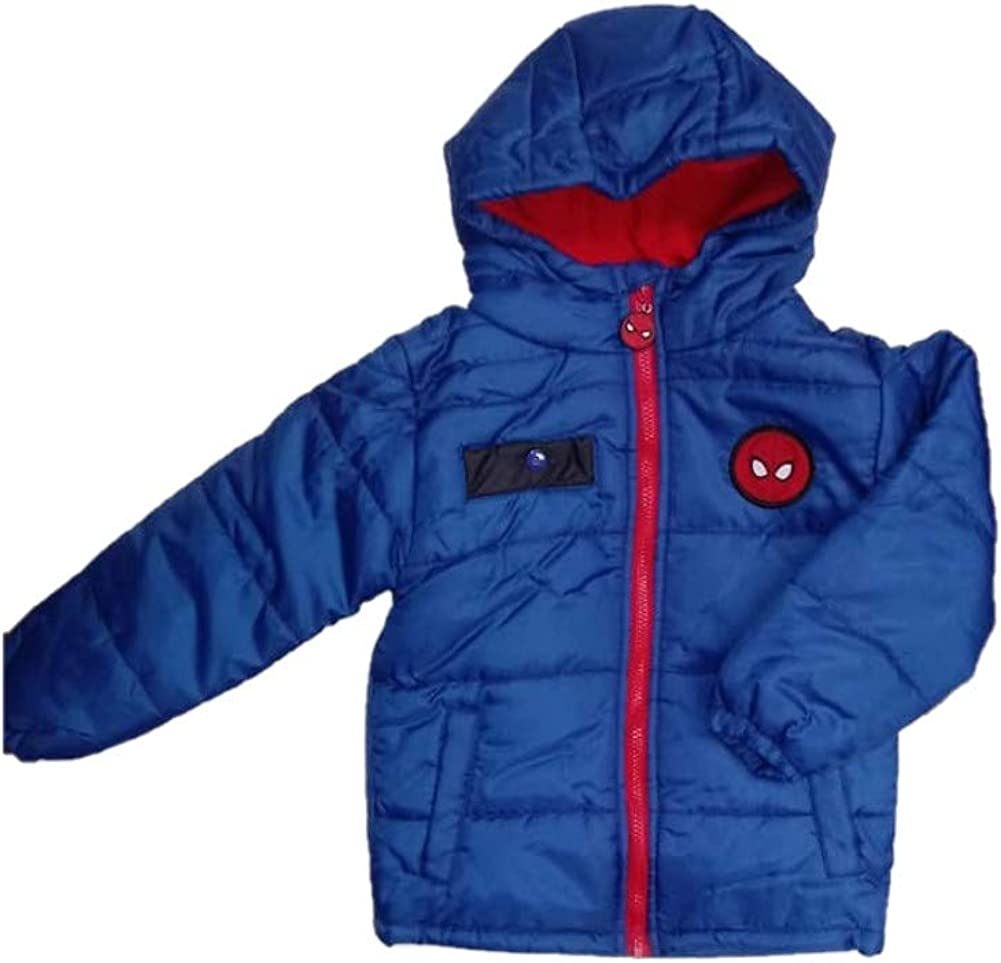 Boys Winter Puffer Coats Character Spiderman Star Wars Hooded Jacket Size 2 3 4 5 6 7 8 Years