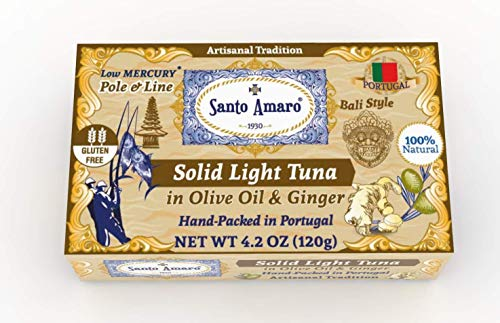 SANTO AMARO Artisanal Wild Tuna in Olive Oil & NATURAL GINGER (12 Pack, 120g Each) BALI STYLE! 100% Natural - GMO FREE - Wild Pole & Line Caught Skipjack - Keto - Paleo - Solid Hand Packed in PORTUGAL