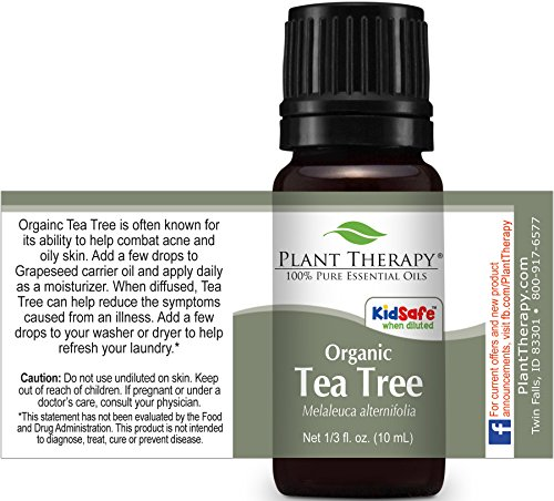 Plant Therapy USDA Certified Organic Tea Tree (Melaleuca) Essential Oil. 100% Pure, Undiluted, Therapeutic Grade. 10 ml (1/3 oz).
