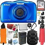 : Nikon COOLPIX W100 13.2MP Waterproof Digital Camera (Blue) + 64GB Class 10 UHS-1 SDXC Memory Card + Accessory Bundle