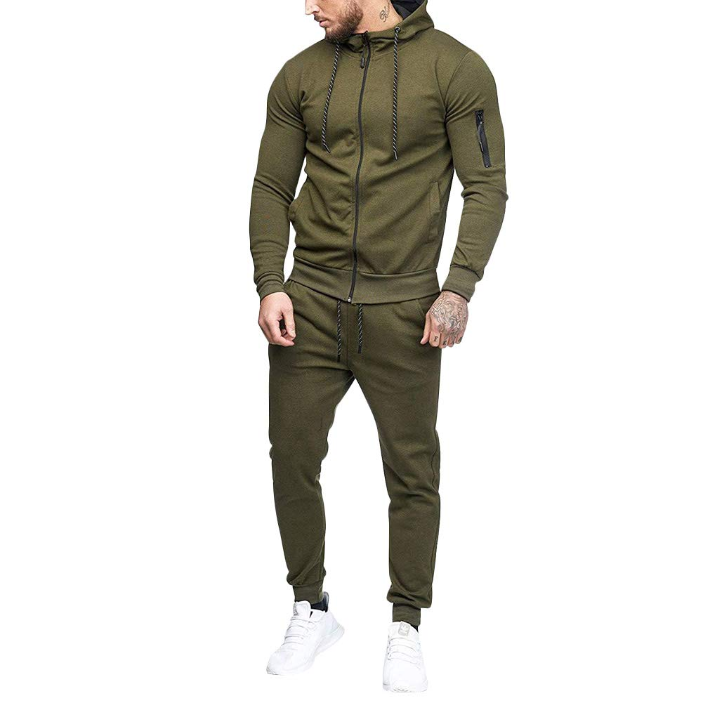 acelyn Mens Tracksuit Set Casual Trousers Warm Sweatshirt Sports Suits Jogging Bottoms Thicken Zip Hoodie M-2XL