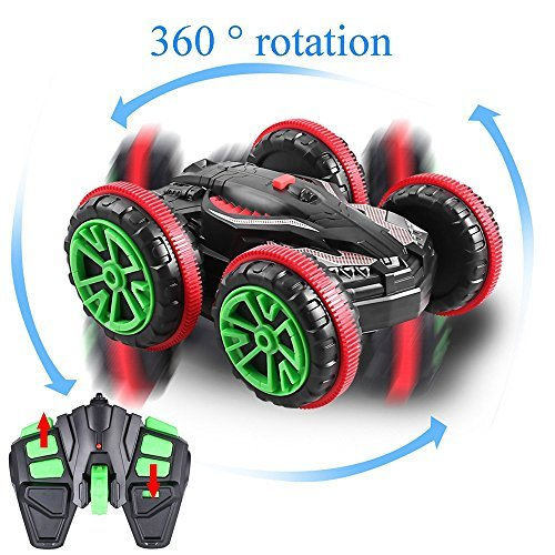 SZJJX Stunt Car 2.4Ghz 4WD RC Car Boat 6CH Remote Control Amphibious Off Road Electric Race Double Sided Car Tank Vehicle 360 Degree Spins and Flips Land / Water