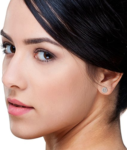 Miore-ohrsteckerr pour femme avec strass or blanc 375/1000 et 0,13 ct diamant et zircon mF9025E taille ronde-blanc