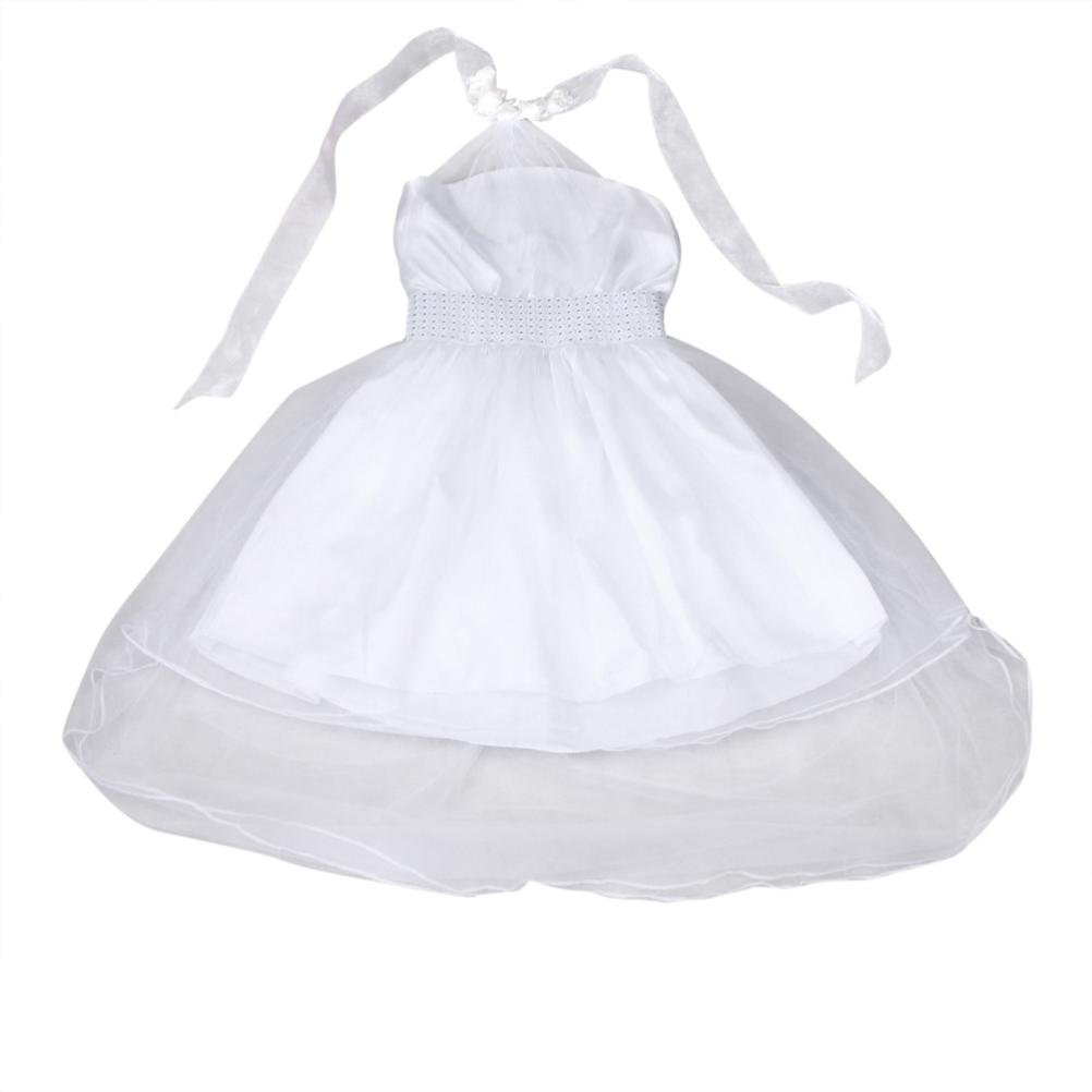 Yuxing Flower Girls Wedding Princess Pageant Birthday Party Dresses (White, 2-3T)