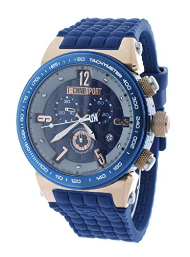 Technosport TS-1300-3 Men's Navy Blue Checkered Swiss Chrono Watch Rose Gold Accents Silicone Strap