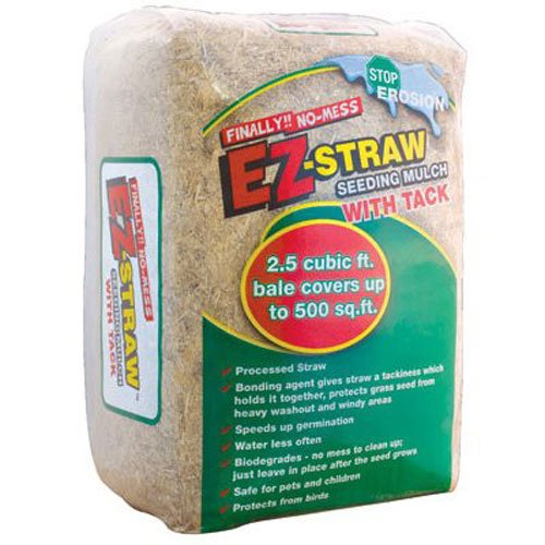 EZ-Straw Seeding Mulch with Tack - Biodegradable Organic Processed Straw - 2.5 CU FT Bale (covers up to 500 sq. ft.)