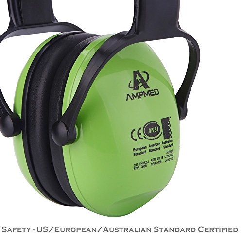 Hearing Protection Earmuff/Headphone for Toddler, Kids, Teen, Young Adult. Amplim Noise Reduction Headphones, Sound Canceling Earmuffs Ear Defenders – Airplane, Concert, Outdoor, Lawn Mower – Green