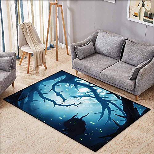 Parking Halloween Horror Nights (Bedroom Floor Rug Mystic House Decor Animal with Burning Eyes in Dark Forest at Night Horror Halloween Illustration LNavy and White Non-Slip Backing W7'8)