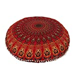 Devanshi art creations Cotton 68 TC Cushion Cover, 22 x 22 Inch, Red