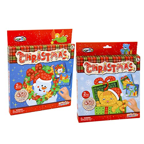 (Oun Nana Sticky Mosaics Art Craft Games with 2 Funny Pictures(Snowman and Elf) and More Than 450 Sticker Foam Pieces for Kids Perfect Christmas Gifts)