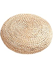 Meideli Woven Straw Cushion Round Tatami Mat Futon Meditation Cushion Handmade Chair Cushion for Home Yoga