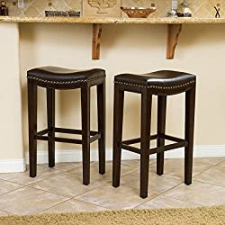 Great Deal Furniture | Jaeden | Backless Faux Leather Bar Stools with Studded Accents | Set of 2 | in Brown
