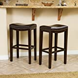 Leather Bar Stools with Back Jaeden Backless Faux Leather Bar Stools with Brass Nailhead Studs, Set of 2