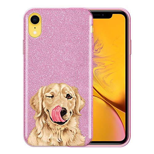 FINCIBO Case Compatible with Apple iPhone XR 6.1 inch, Shiny Sparkling Pink Bling Glitter TPU Protector Cover Case for iPhone XR - Cute Winking Golden - Retriever Golden Iphone