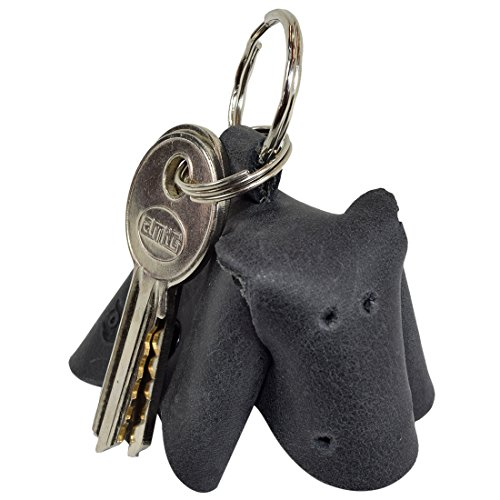 (Critter Keychain Hippo Fob Charm Rustic Leather Animal Key Holder Charm Pendant Handmade by Hide & Drink :: Charcoal Black)