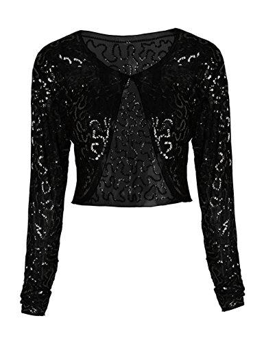PrettyGuide Women Cropped Jacket Chiffon Sequin Long Sleeve Glitter Bolero Top Black L/US12-14 - Glitter Cape