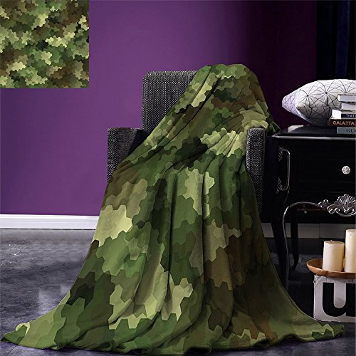 (smallbeefly Camo Digital Printing Blanket Frosted Glass Effect Hexagonal Abstract Being Invisible Woodland Print Summer Quilt Comforter Green Pale Green and Brown)