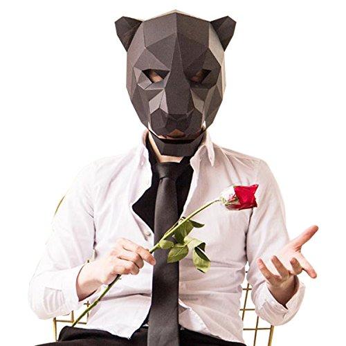 Homelix 3D Paper Mask Animal Head Molds DIY Halloween Party Costume Cosplay Facial Paper-Craft Kit (Black, Leopard (Leopard Diy Halloween)