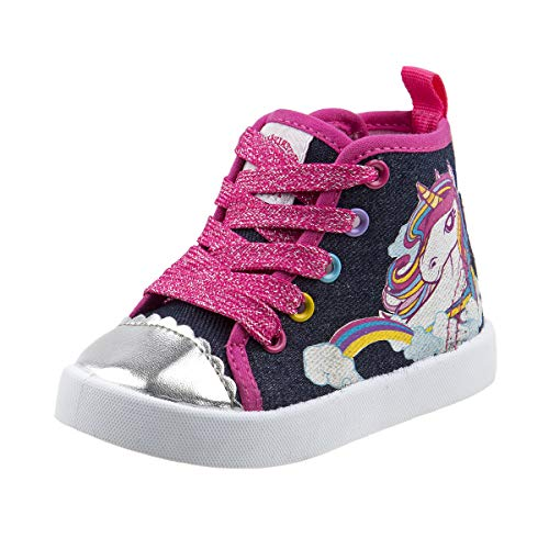 Beverly Hills Polo Club Girls High Top Sneaker, Navy Unicorn, 7 M US Toddler' -