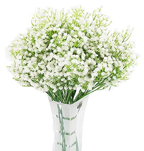 LNHOMY 10PCS Artificial Gypsophila Real Touch Flowers Baby Breath Fake Silk Plants Wedding Party Home Garden Decoration DIY Flower (Cream)