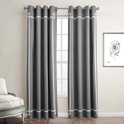 KindoBest Gray Ribbon Pattern Gromment Curtain(1 Panel) 100% Cotton/drape/treatment for Bedroom/Living Room Size (52W×84L inch)