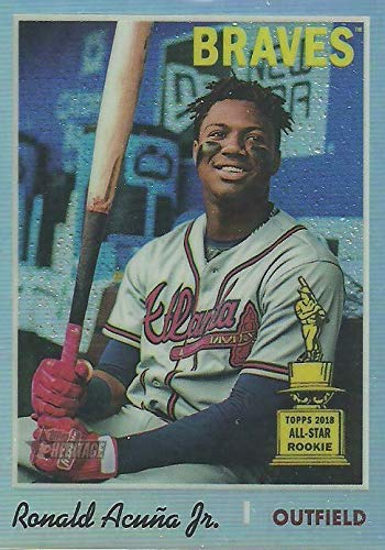 2019 Topps Heritage CHROME - Ronald Acuna Jr - Rookie Cup REFRACTOR Parallel #/570 - Atlanta Braves Baseball Card #THC500