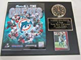 Miami Dolphins All Time Greats Collectors Clock Plaque w/8x10 Photo and Card